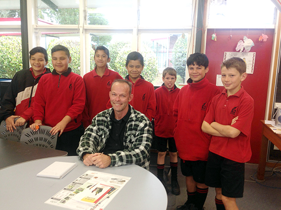 Kobus du Toit meets with students to talk about ways to recycle in school