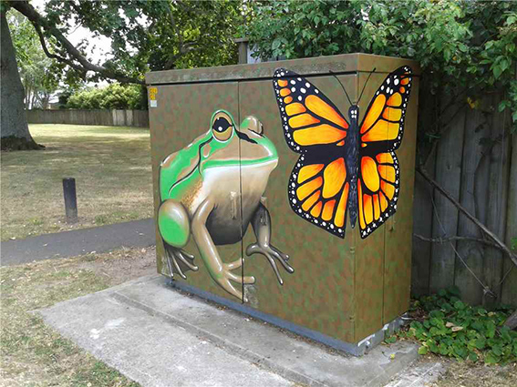 Cabinet art painted by Laura Hodson at Hukanui Road, Chartwell