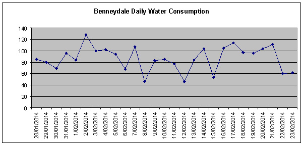 Benneydale daily water consumption