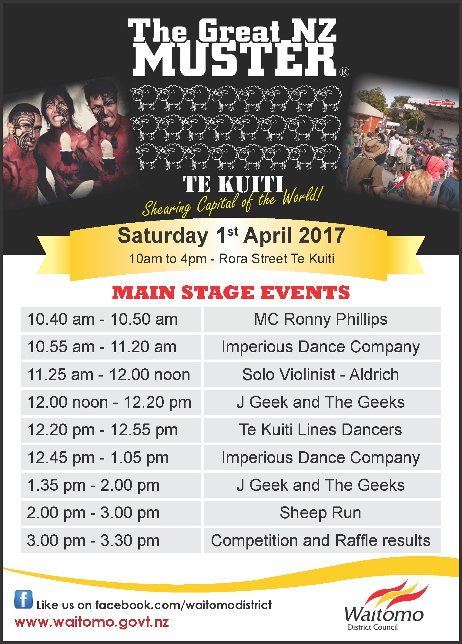 Advert 30 March 2017 Great NZ Muster Main Stage events