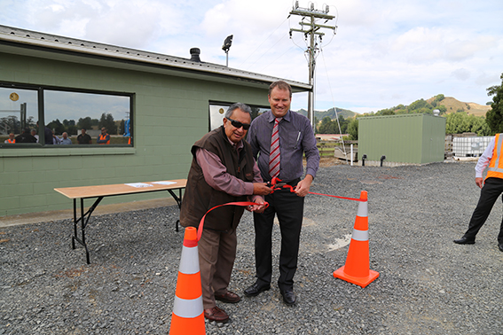 Cutting the ribbon: The Te Kuiti Plant was officially opened by Tiwha Bell, Chairman of the Maniapoto Maori Trust Board and Mayor Brian Hanna.