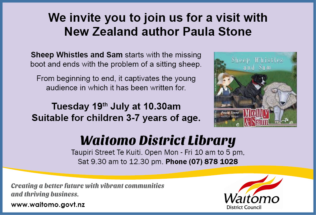 Waitomo District Library author visit july 2016