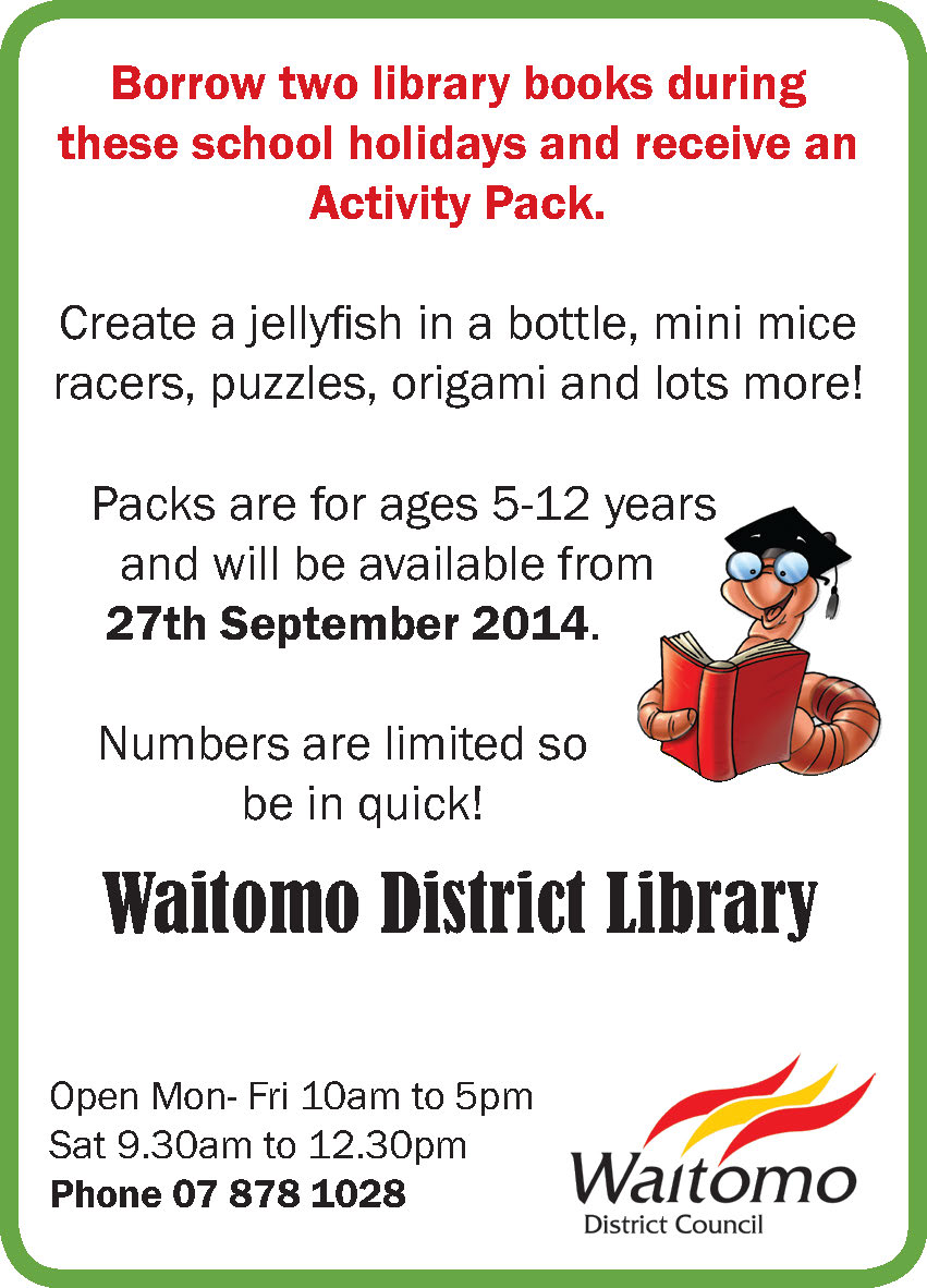 Waitomo District Library holiday activity pack
