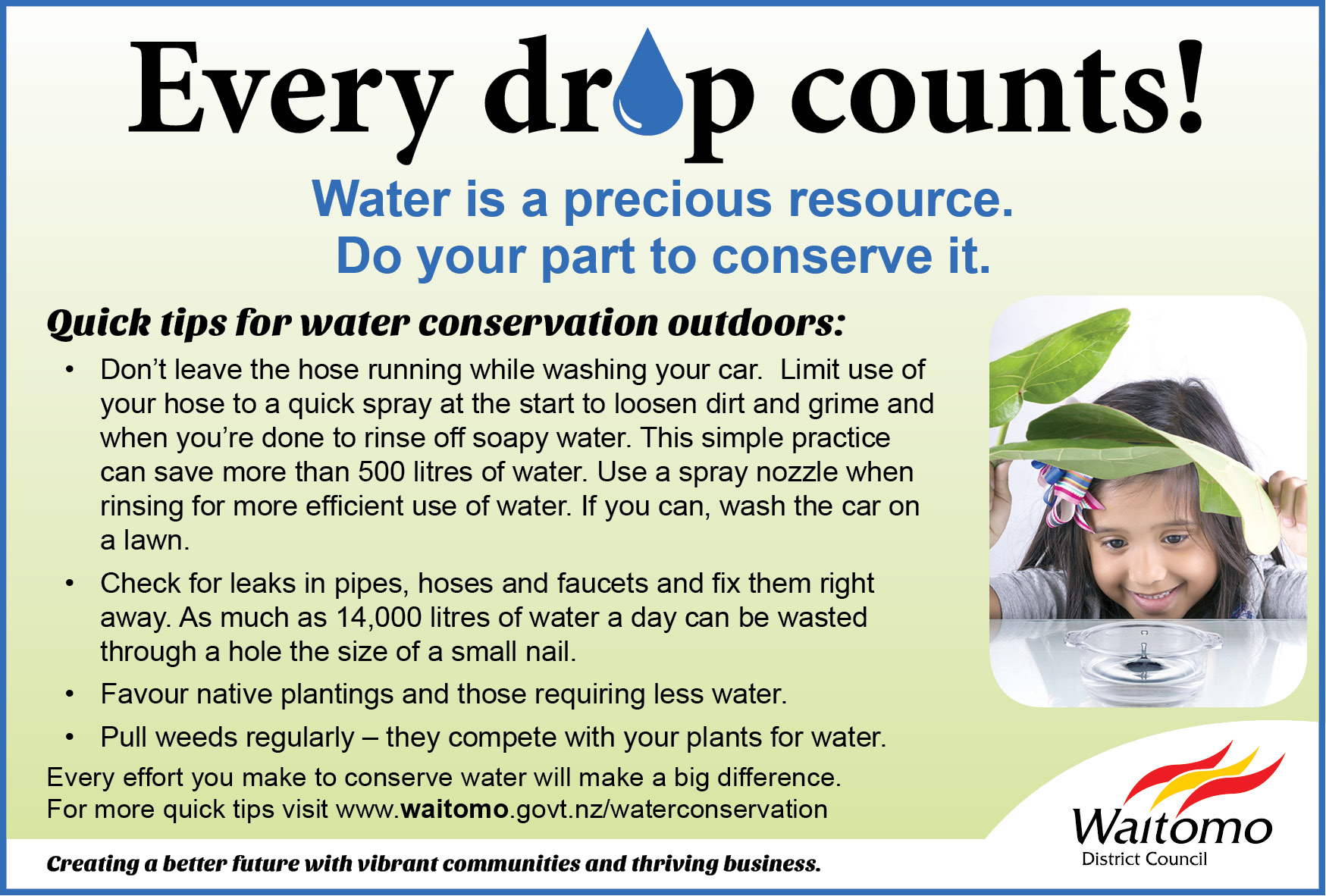 Every drop counts! Quick tips for water conservation outdoors
