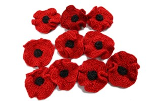 Poppy flags as a symbol of remembrance