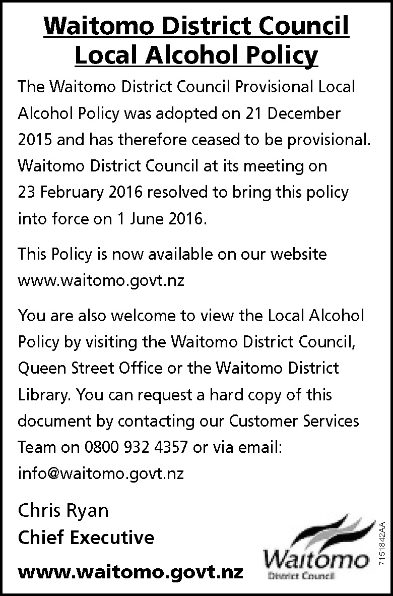 Local Alcohol Policy public notice