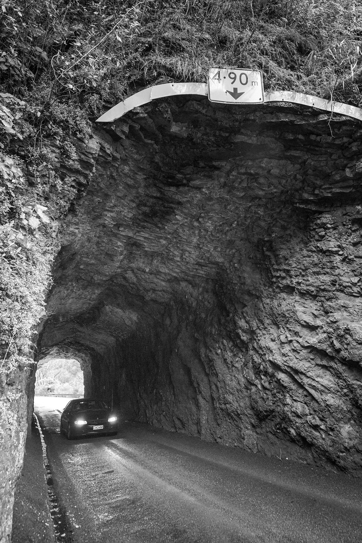 The single-lane Awakino Tunnel is at the eastern end of the Awakino Gorge. It was opened to traffic in 1923. Source: NZ Transport Agency