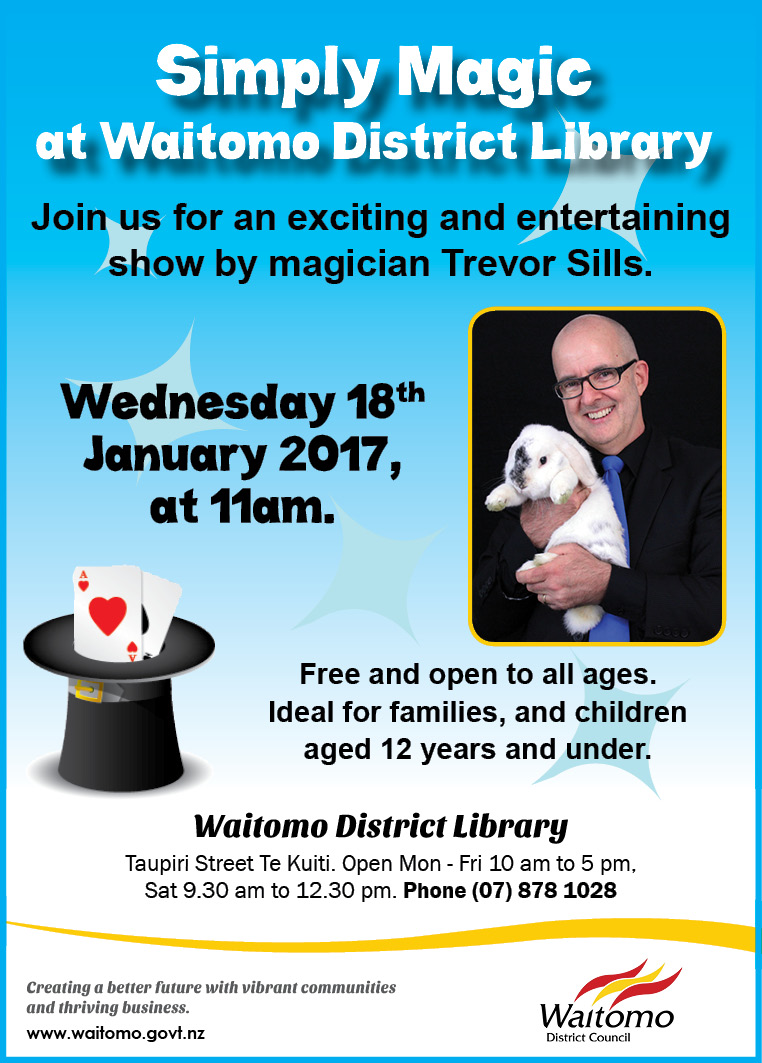WDC Advert 12 January 2017 Magic Show at Waitomo District Library