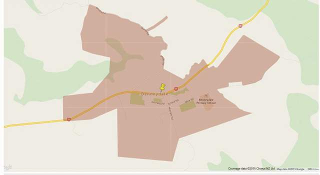 Map showing the area in Benneydale where better broadband services are now available.