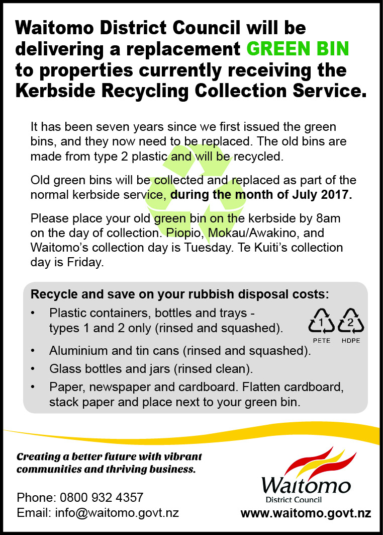 WDC Kerbside Recycling Collection Service update 15 June 2017