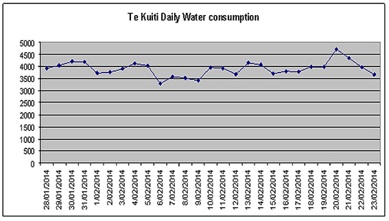 Te Kuiti daily water consumption